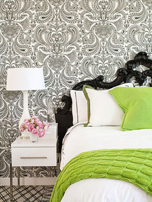 Patterned wallpaper in bedroom