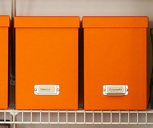 Orange storage boxes