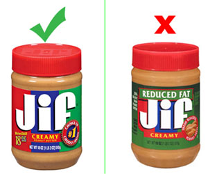 Jif Reduced Fat Peanut Butter, Jif Regular Peanut Butter