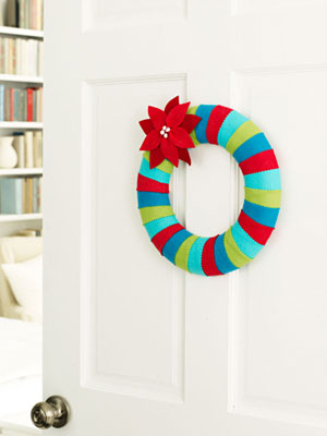 Felt striped wreath