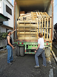 AFYA unloading trucks