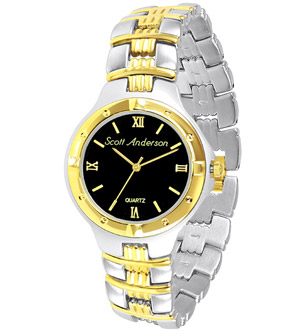 gold and silver men's watch