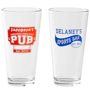 two red and blue pub glasses
