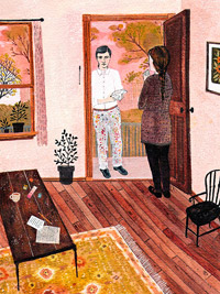 Man at door illustration