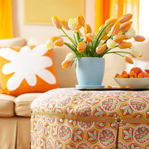 orange decorated room