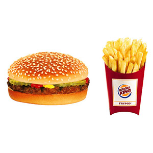 Burger King Hamburger and Value-Size Unsalted French Fries
