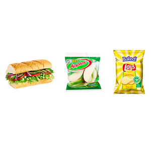 Subway 6-inch Veggie Delite Sub on Italian Bread, Subway Apple Slices, Small Bag of Baked Lay?s