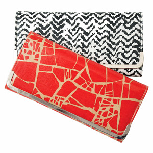 Bold printed clutches