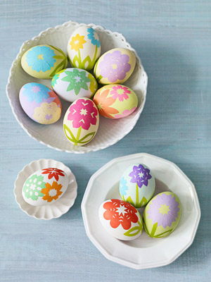 Floral decoupage eggs