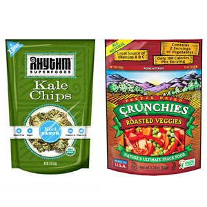 Crunchies Roasted Veggies and Rhythm Kale Chips
