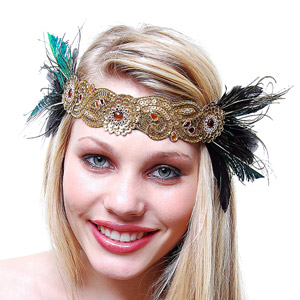 Unique Vintage Peacock Feather Satin Flapper Headband