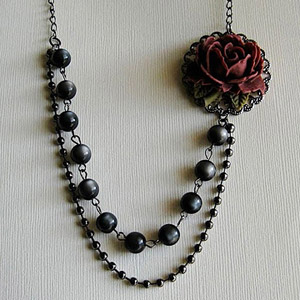 Unique Vintage Red Rose and Dark Pearl Necklace