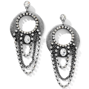 HSN Molly Sims Chain Drop Hoop Earrings