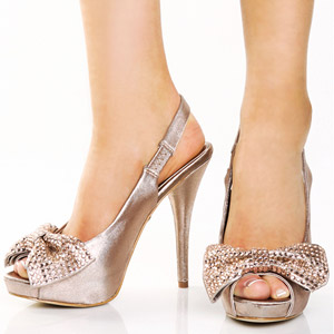 LuLu's Minnii Blush Sparkle Satin Bow Toe Heels