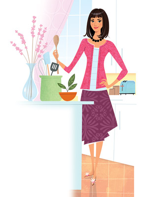Woman in the kitchen illustration