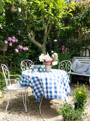 Outside Picnic Table With Flowers