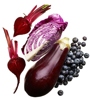 Purple and blue vegetables