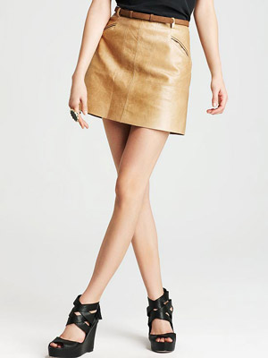 Joie Felicia Leather Skirt with Belt