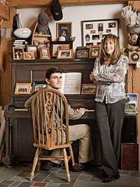 Mom and autistic son on piano