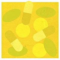 Yellow background floating pills
