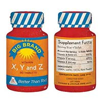 Front and back of vitamin bottle