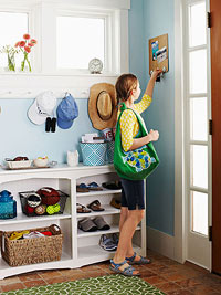 girl in mudroom