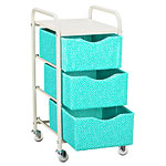 Ready-to-Roll Storage Cart in Mini Dot Pool