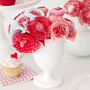 Valentines Day decorations, pink, paper flowers