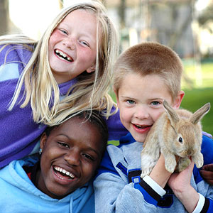 Kids with pet rabbit
