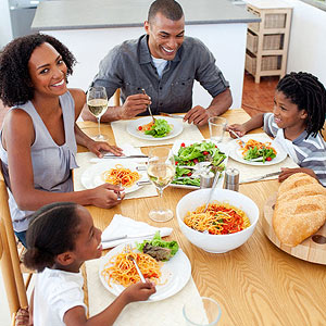 Family eating dinner