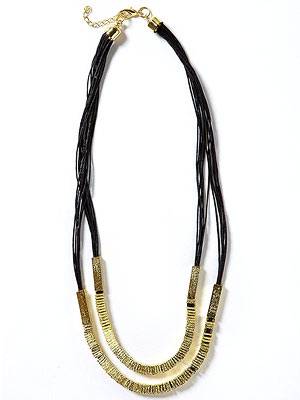 Multi-strand Black and Gold Tone Necklace By Isabella Lazarte