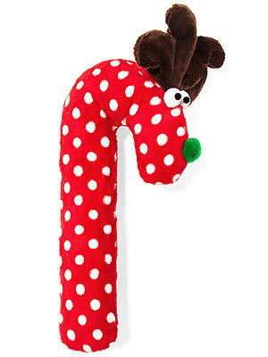 Crinkle Cane Deer Dog Toy