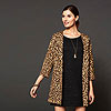 ladylike coat, gold jewelry, and T-shirt dress