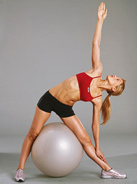 Triangle Stretch with Exercise Ball