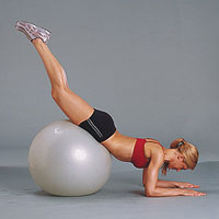 Double leg extension with exercise ball (b)