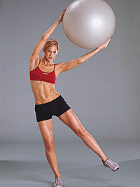 Standing lateral side bend with exercise ball