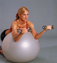 Kneeling preacher curls with exercise ball