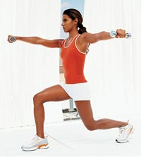 stationary lunge with L-raise