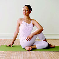Seated spinal twist yoga pose, yoga