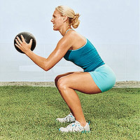 Squat Push-Press with Medicine Ball A
