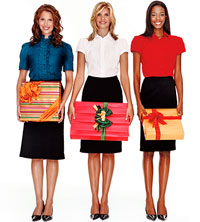 three women holding presents
