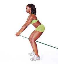 pull-through with resistance band butt exercise