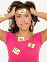 girl with post-its on head