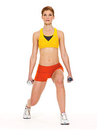 diagonal lunge with dumbbells
