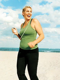woman running with iPod