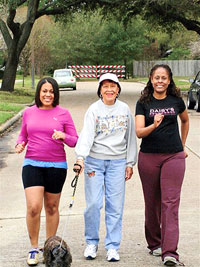 Mom and daughter walking for fitness