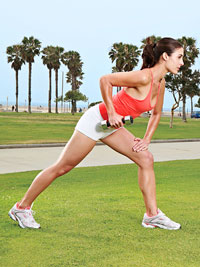 lunging bent-over row