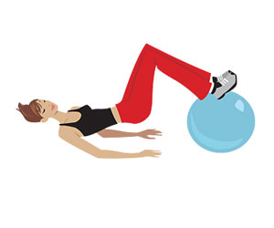 stability ball hamstring curl illustration
