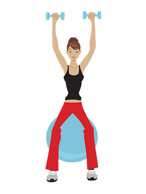 shoulder press on stability ball illustration