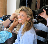 Marisa Miller gets her hair done